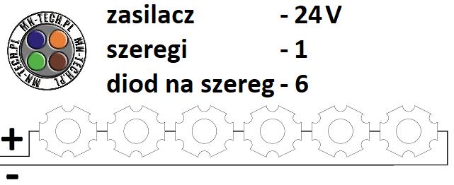 24V 1 szereg 6 diod