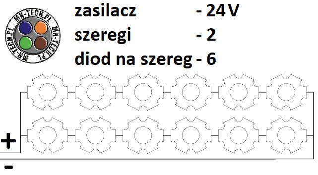 24V 2 szeregi 6 diod