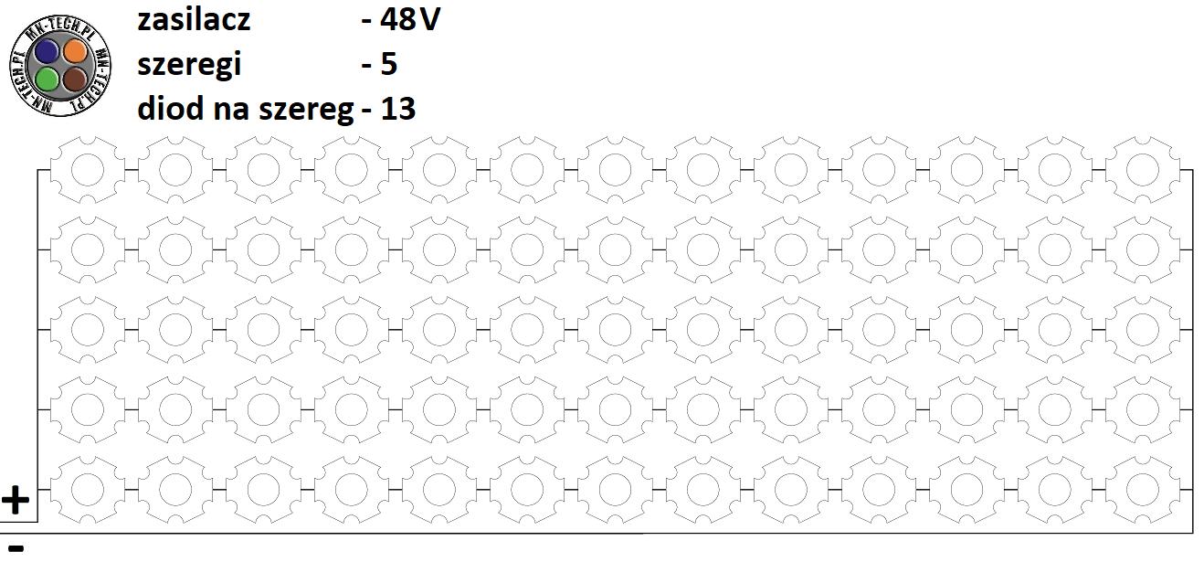 48V 5 szeregów 13 diod