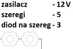 12V 5 szeregów 3 diody